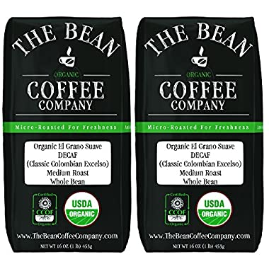 The Bean Coffee Company Organic Decaf El Grano Suave (Classic Colombian Excelso), Medium Roast, Whole Bean, 16-Ounce Bags (Pack of 2)