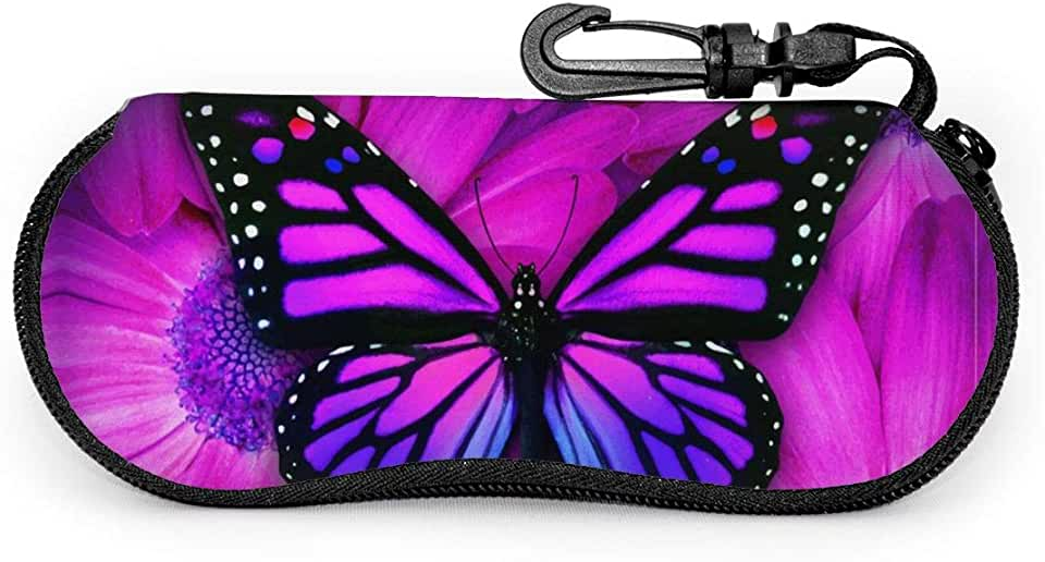 Sunglasses Case Purple Butterfly Hard Glasses Eyeglass Case With Carabiner For Woman