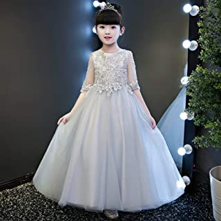 Luxury Pompon Princess Dress Girls Bouquet Beaded Gauze Gray Long Section of Flower Girl Dresses Little Girls Host Costumes Western Style Piano Performances ryq (Color : Gray, Size : 140cm)
