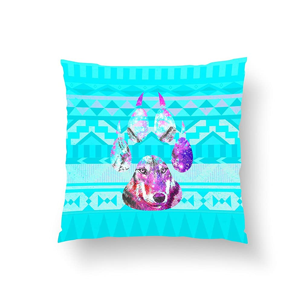 Zippered Pillow Covers Pillowcases 18x18 Inch Wolf in Pink Nebula paw & Andes aztec teal pattern Pillow Cases Cushion Cover for Home Sofa Bedding