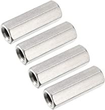 uxcell M6 X 1-Pitch 30mm Length 304 Stainless Steel Metric Hex Coupling Nut, 4PCS