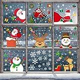 Simpeak Stickers Noel Fenetre Autocollant Noël Decoration Noël DIY Fenêtres Stickers Arbre Santa Renne Flocons de Neige Deco Noel pour Accueil/Boutique Autocollant Amovibles,30 * 20cm 12Pcs