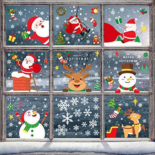 Simpeak Decoracion Pegatinas Navidad Ventanas, Pegatina Copo de Nieve Navidad Santa Claus Alce Desmontable Pegatinas para Hogar Tienda Fiesta Calcomanías