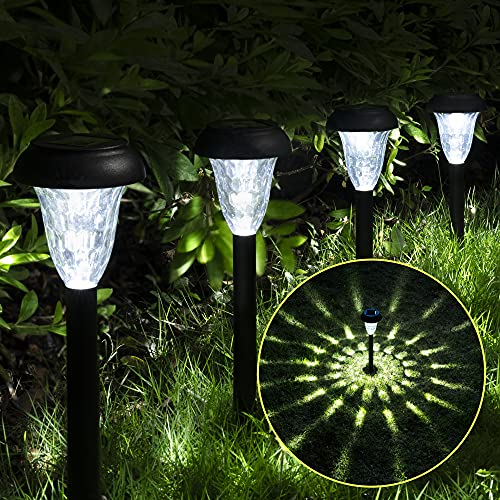 GIGALUMI Solar-Powered Pathway Lights (12-Pack), Waterproof Solar Garden Lights, Bright LED Solar Pathway Lights, Outdoor Lights for Landscapes, Gardens, Pathways, Walkways and Driveways (Cold White)