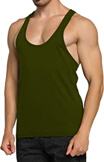 GymLeader Gym Tank Tops for Men Solid Workout Tanks Sleeveless T Shirt Y-Back Athletic Shirt