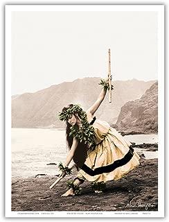 Pua with Sticks (Kala'au) - Hawaiian Hula Dancer - Original Hand Colored Photograph by Alan Houghton - Hawaiian Master Art Print - 9in x 12in