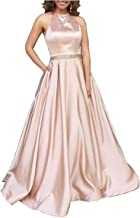 Tsbridal Women's Halter Lace Up Bridesmaid Dresses Long Formal Gown with Pockets Wedding Party Dress