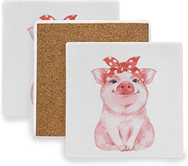 Susiyo Funny Pig Wearing Bandana Drink Coasters Absorbent Stone Coasters With Cork Backing Prevent Furniture From Dirty And Scratched Ceramic Square Coasters Set Of 2