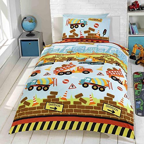 kidz Under Construction Bettwäsche-Set mit Bagger- und LKW-Motiven Mehrfarbig, Einzelbettbezug