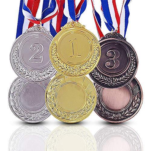 Onepine 6 Stücke Preis Medaillen Gold Silber Bronze Gewinner Medaille Erster Zweiter Rang Medaillen Medaillen für Champions mit Band (6 Stücke)