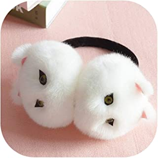 Winter Autumn Warm Faux Fur Ear Muffs Cute Cat Ear Earflap Rabbit Fur Earmuff for girls Ladies Plush Ear muffs Women AD0606,White cat