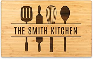 Andaz Press Personalized Large Bamboo Wood Cutting Board Gift for Newlyweds, 17.75 x 11-inch, The Smith Kitchen, Utensils Graphic, 1-Pack, Custom His Her Mr. Mrs. Wedding Laser Engraved Board