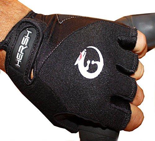 Hersh–Guantes de Ciclismo, Verano, Unisex, Color Blanco/Negro, tamaño Large
