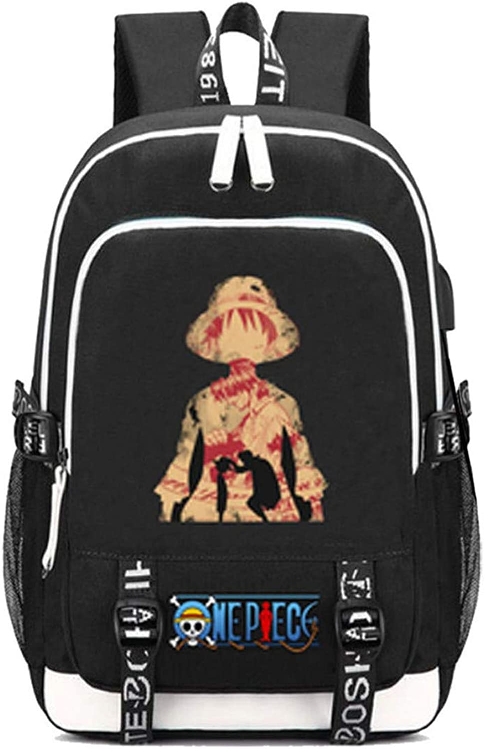 Cosstars One Piece Anime Backpack Schultasche Laptop-Rucksack mit USB-Ladeanschluss und Kopfhreranschluss  16