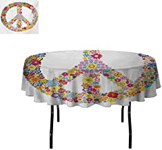Groovy Easy to Care for Leakproof and Durable Round tablecloths Floral Peace Sign Summer Spring Blooms Love Happiness Themed Illustration Print Outdoor Picnic D55 Inch Multicolor