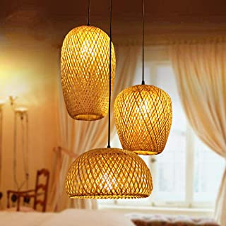 Bamboo Lantern Pendant Lamp, Retro Japanese Style E27 Chandelier Hanging Light Ceiling Lighting Fixture for Living Room Be...