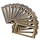 ISKYBOB 24 Pack Antique Label Holder Metal Name Card Frame for Furniture Cabinet Drawer Case,Bronze Color
