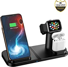 Wireless Charger, 3 in 1 10W Qi-Certified Fast Wireless Charger Stand Compatible iPhone XR/XS Max/XS/X / 8/8 Plus/Apple Watch/Airpods (Renewed)