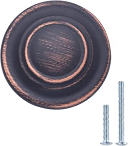"""AmazonBasics AB200-OR-10 Traditional Top Ring Cabinet Knob, 1.25"""" Diameter, Oil Rubbed Bronze, 10 Pack"""