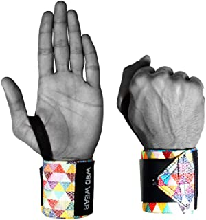 Elastic Wrist Wraps - 18 inch Pair Fitness, Powerlifting, Bodybuilding, Weight Lifting, Cross-Training Wrist Supports Weight Training Hook Loop Grip