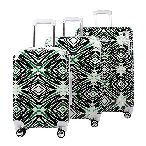 Steve Madden Luggage 3 Piece Hard Case Suitcase Set With Spinner Wheels (Tribal)