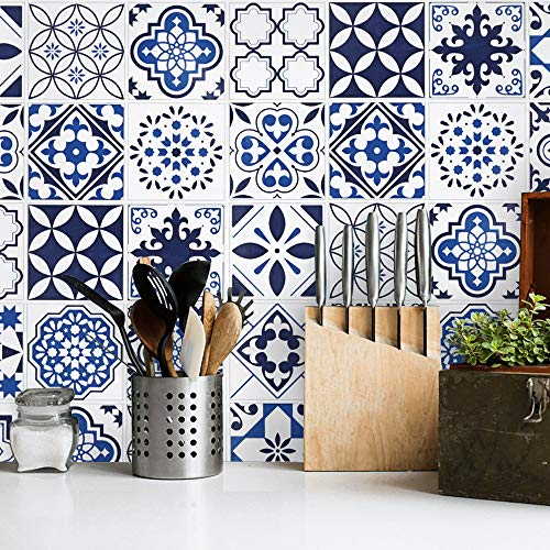 Blue and White Contact Paper 17.7''X118''Tile Glossy Surface Thicken Wallpaper...