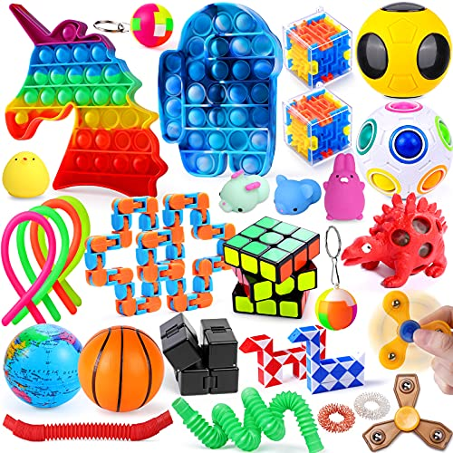 30 Pack Sensory Fidget Toys Set for Kids Adults with Stress Ball Pop & Its Toys Stress Relief and Anti-Anxiety Toys for ADHD ADD Autism Kids Adults Party Favors Stocking Stuffers Classroom Rewards