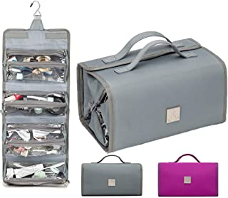 Hanging Toiletry Bag, Large Travel Essentials Organizer with Hook Roll-Up 4 Waterproof Removable Cosmetic Bags kit for Women