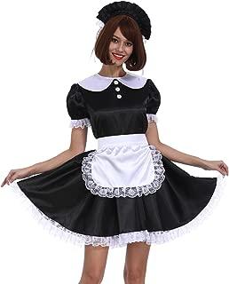 Sissy Girl Maid Black White Shiny Satin Lockable Dress Uniform Crossdresser