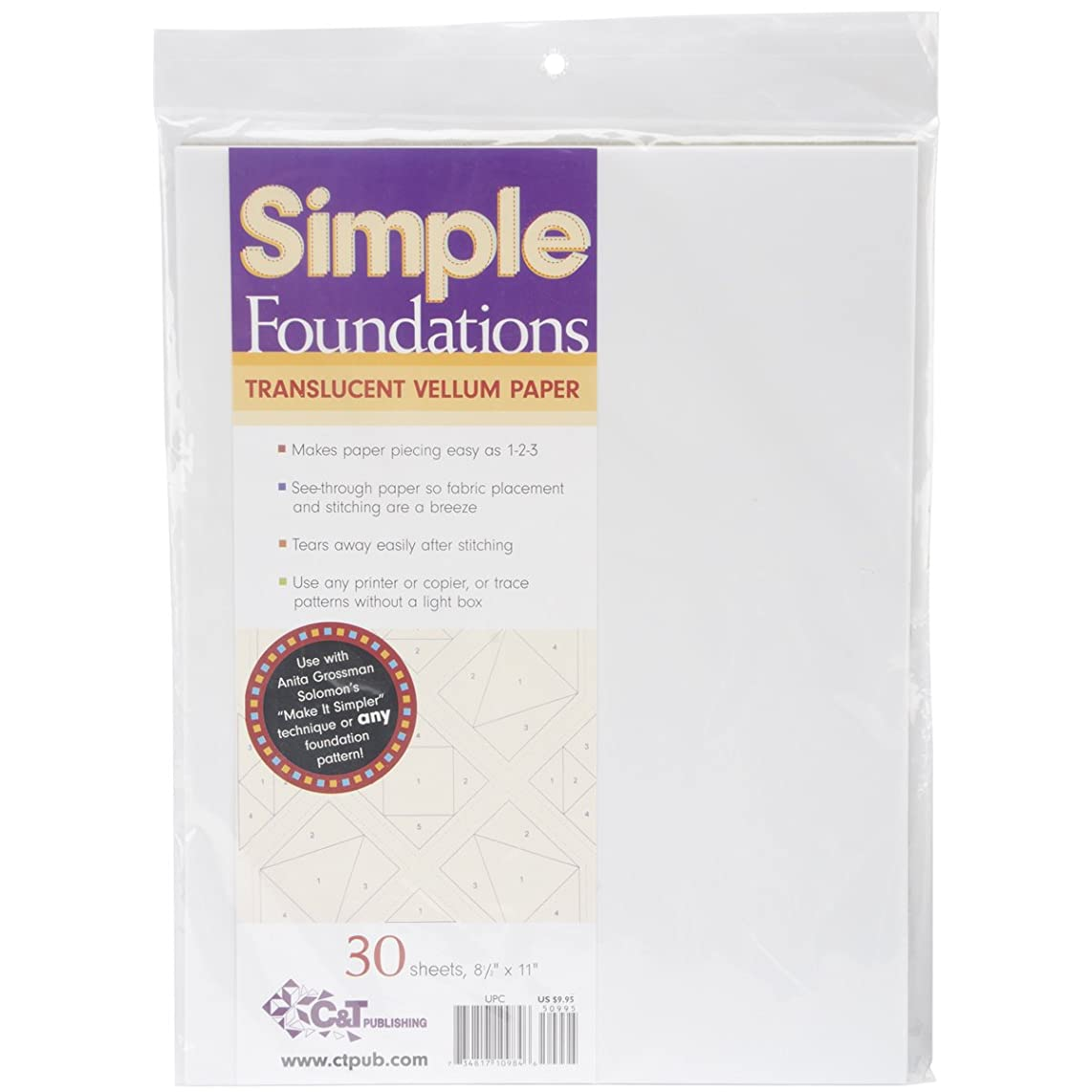 C&T PUBLISHING Simple Foundations Translucent Vellum Paper-8.5