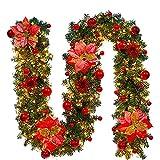 Corona De Navidad, Decoración De Corona De Navidad De 9 Pies, Corona De Pino Artificial De 2,7 m, Utilizada para Chimeneas, Escaleras, Puertas, Fiestas, Etc.Rojo