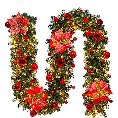 Timiyou Corona de Navidad con luces LED, 270 cm, guirnalda de Navidad artificial, guirnalda de Navidad, decoración de Navidad, corona de puerta, interior y exterior