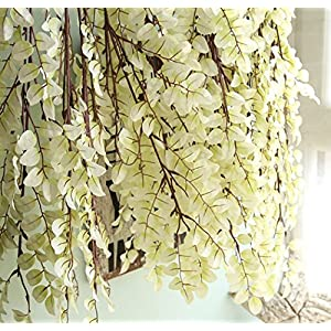 c&l cl 110cm length 5 pcs artificial fake simulation ivy leaves vine spring bean leaves hanging plants for home furnishing halloween party wedding flowers decoration (white) silk flower arrangements