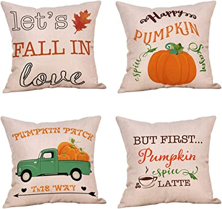 Steven.Smith 4 Pack Let's Fall in Love Quotes Throw Pillow Case Truck with Pumpkins Halloween Thanksgiving Cushion Cover 18 x 18 Inch Cotton Linen Autumn Farmhouse Decor (Fall in Love)