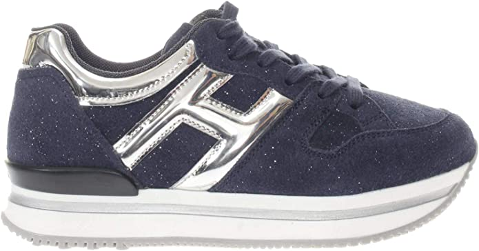 Hogan Junior Sneaker H222 H Grande Bambina Blu/Argento 32 ...