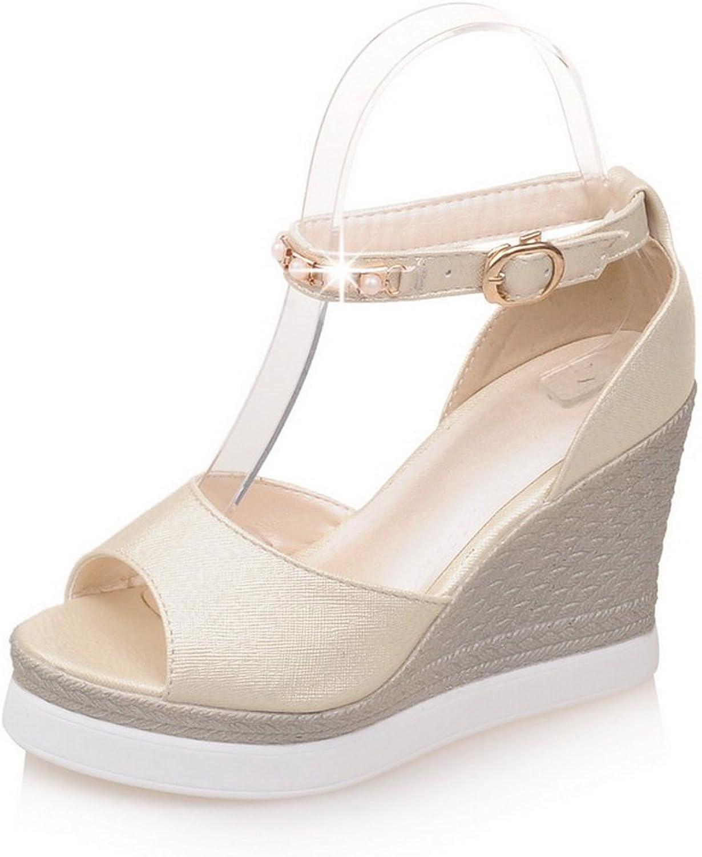 BalaMasa Womens Sandals Peep-Toe No-Closure Smooth Leather Casual Urethane Sandals ASL04692