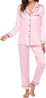 Ekouaer Pajama Set Women's Soft Cotton Sleepwear Long Sleeve Sleep Top with Pjs Lounge Pants S-XXL