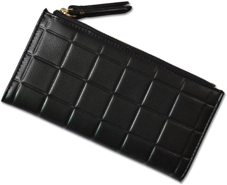 Wallets Womens wallets women long section folding double zipper buckle multifunction plaid wallet clutch Leisure wallet ( color   Black )