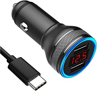 USB Car Charger, Car Phone Charger Dual USB Port Quick Charge QC 3.0 & 5V/2.4A Compatible with Any Cell Phones for Samsung Motorola Google LG HTC Cell Phone Car Charger with Digital Voltmeter