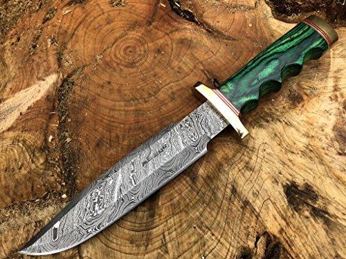Perkin Knives Damastmesser Jagdmesser mit Scheide - Jagdmesser Bowie (Grüner Holzgriff und Messing)