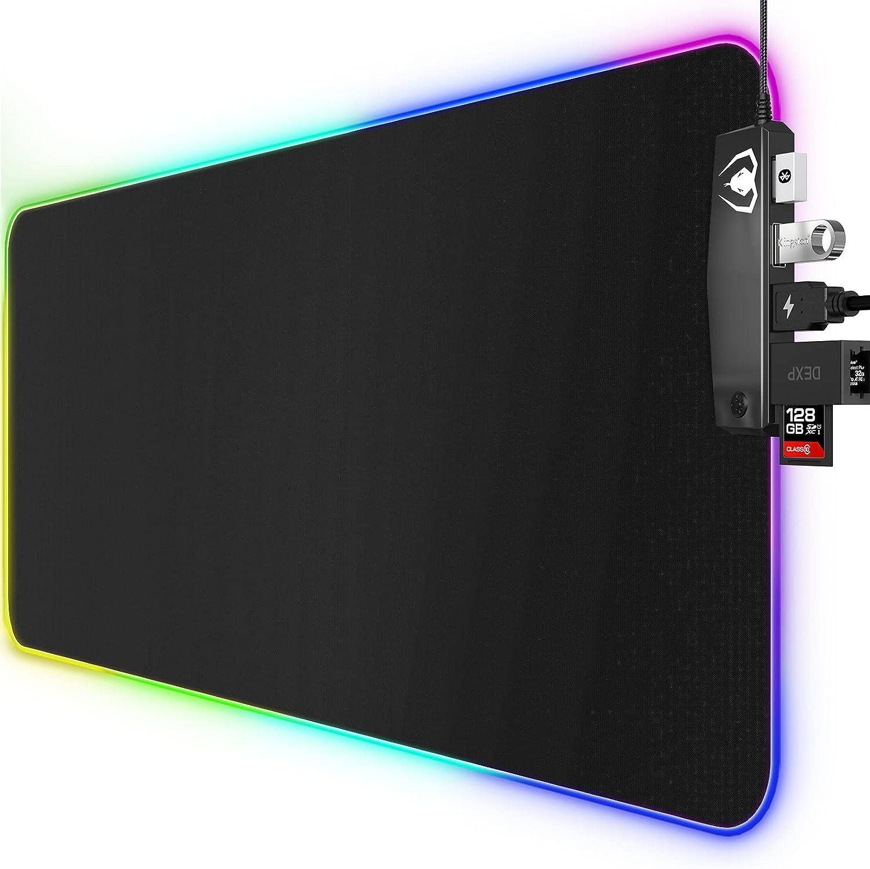 Alfombrilla Ratón Gaming, Alfombrilla Gaming RGB Grande XXL con 4 Puertos USB, 14 Modos de Luz, Base de Goma, Alfombrilla Ratón de LED Extendida y Plana para Velocidad y Control, 800 x 300mm