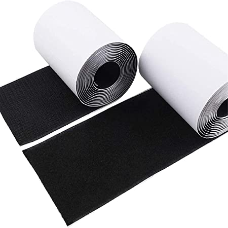 """4"""" Hook and Loop Tape Self-Adhesive Strips Set with Sticky Glue Nylon Fabric, Fastener Black, 3 Yards (9 Feet), COCOBOO"""