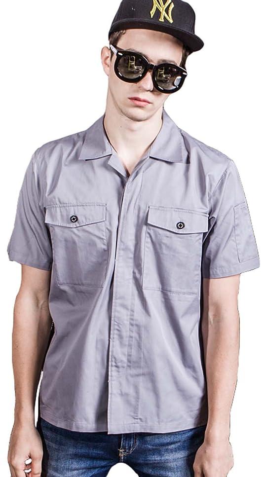 パトロンオレンジそのような作業服 ワークユニフォーム 半袖 男女兼用 着心地 通気 作業着 トップス 高級感 耐久性抜群 グレー/ダークグレー S/M/L/LL/3L/4L 小さいサイズ/大きいサイズ