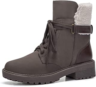 Womens Fashion Mid Calf Boots Lace Up Low Heel Work Combat Booties Side Zipper Winter Martin Boot with Faux Shearling Lined