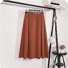 Autumn Winter Suede Velvet Skirt Female Midi Long Elegant Korean High Waist Skirt