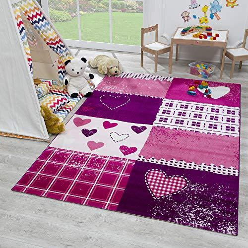 SANAT Teppich Kinderzimmer - Lila/Rosa Kinderteppich für Mädchen und Jungen Öko-Tex 100...