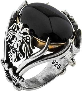 خاتم فاخر بتصميم نسر من الفضة الاسترلينية عيار 925 بلون واحد مزين بحجر العقيق، صناعة تركية يدوية للرجال