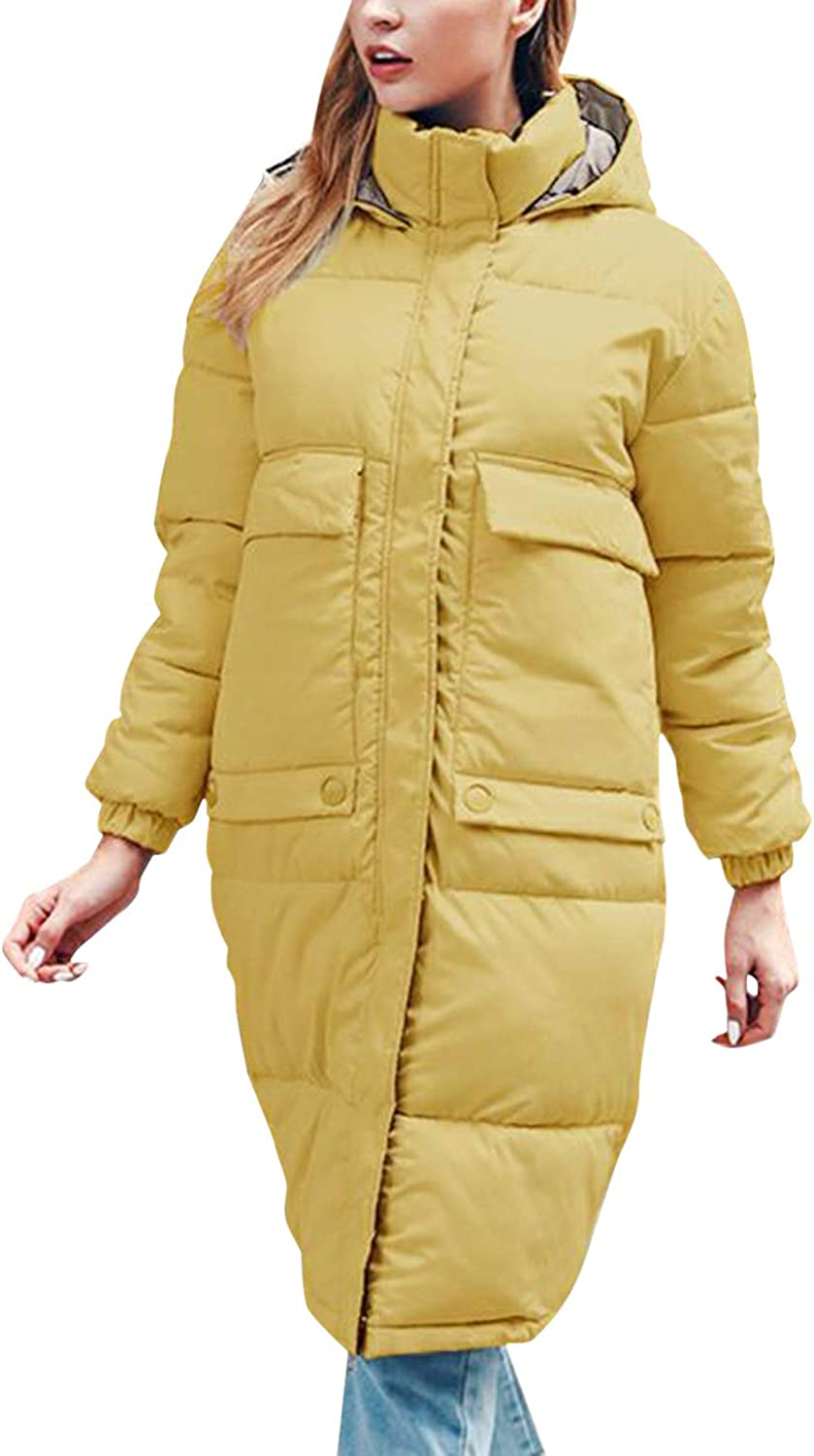 Olinase Long Down Jackets for Women Thicken Padded Overcoats Plus Size Hooded Parka