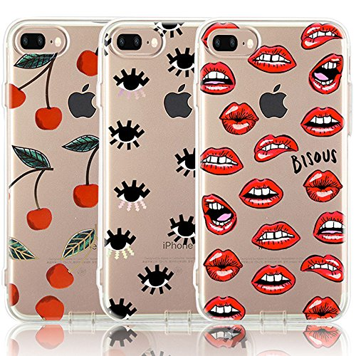 CarterLily iPhone 8 Plus Case, iPhone 7 Plus Case, [3-Pack] Watercolor Flowers Floral Pattern Soft Clear Flexible TPU Back Case for iPhone 7 Plus iPhone 8 5.5'' (Lips)