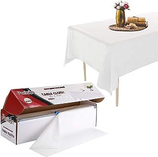 Puricon Rollo de Mantel Plástico 1,37 × 32,9 m con Cortador Seguro, Cubierta Resistente para Mesa Rectangular/Cuadrada/Redonda/Oval –Blanco